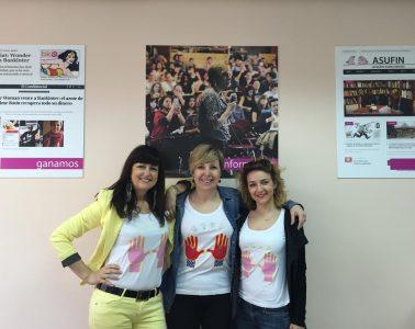 Las activistas Franca Berno, Patricia Suárez y Sheila Meneghetti