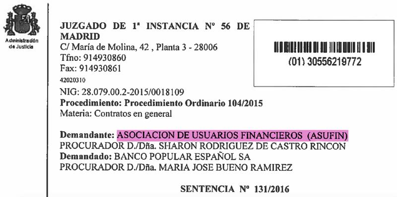 ASUFIN - Sentencia Hipoteca Multidivisa, encabezado
